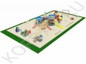 Детская площадка с большим игровым комплексом вид 2
