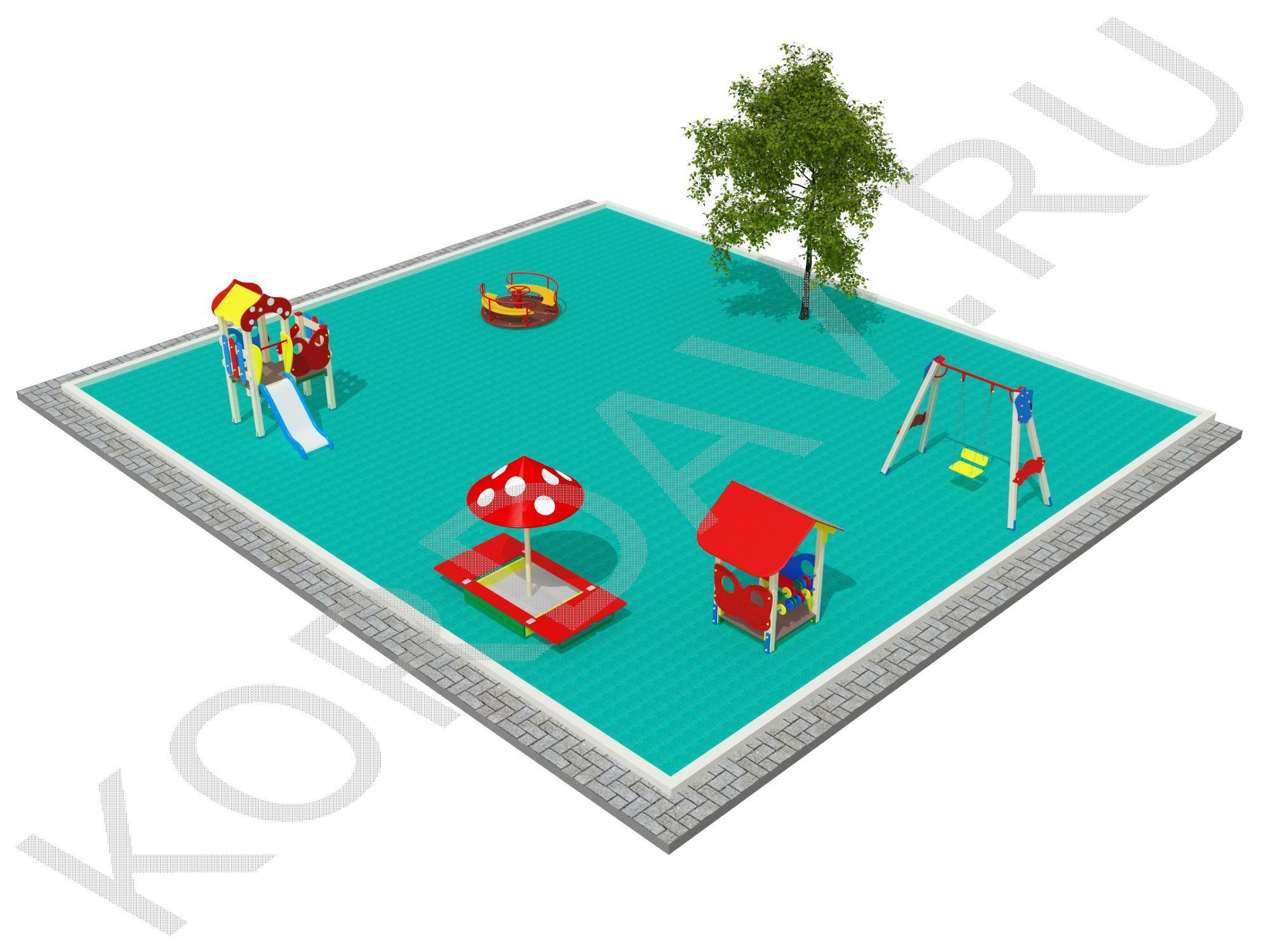 Детская площадка с грибком, домиком, качелями и каруселью