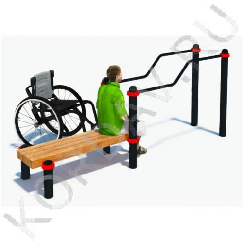 Воркаут Брусья двухуровневые со скамьёй для инвалидов-колясочников СТ 2.13