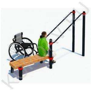Воркаут Брусья наклонные со скамьёй для инвалидов-колясочников СТ 2.14