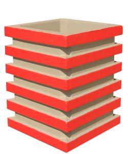 Урна бетонная квадратная с горизонтальным узором двухцветная Корда 024