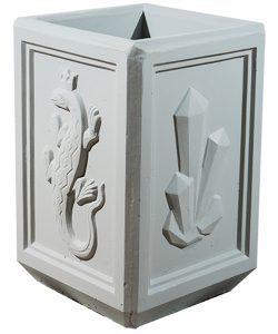 Урна бетонная квадратная с узором Корда 028