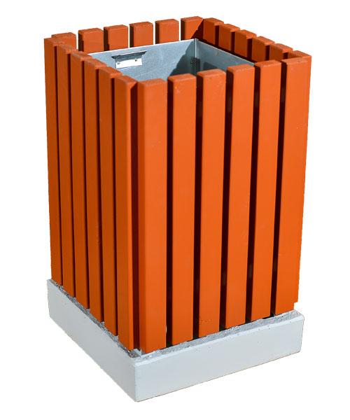 Урна квадратная светлая бетон- металл-дерево Корда 029а