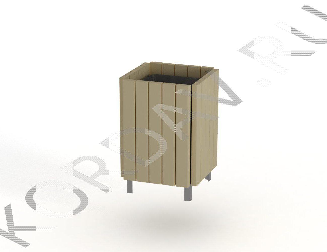 МАФ 11.001 Урна деревянная на метал. каркасе со вставкой
