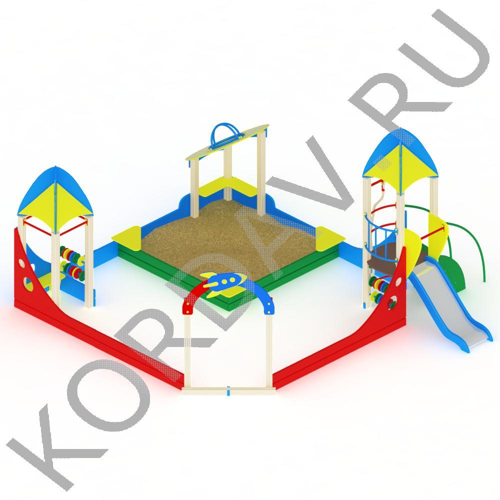 Песочный дворик космос с горкой МАФ 8.341