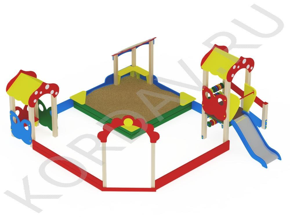 Песочный дворик поле с горкой МАФ 8.401