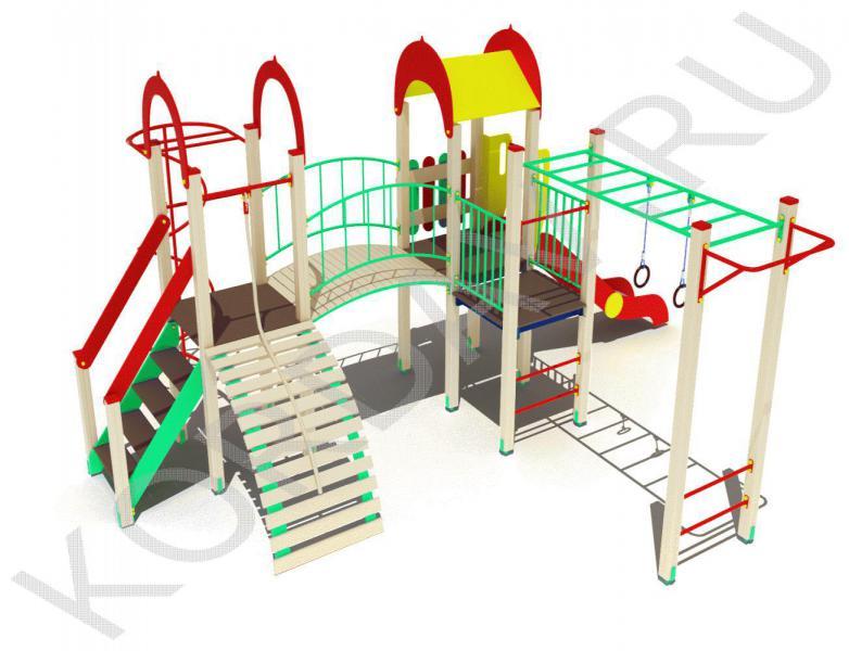 Детский комплекс с горкой рукоходом и турником ПДИ 2.15 (0)