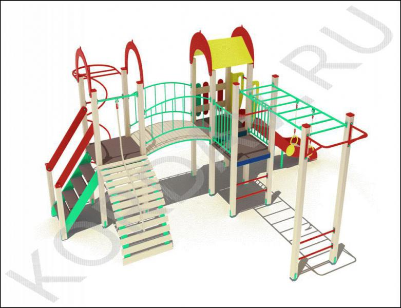 Детский комплекс с горкой рукоходом и турником ПДИ 2.15 (1)
