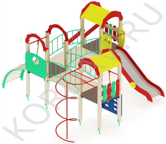 Детский игровой комплекс с  горкой и гимнастическими элементами ПДИ 2.21 (1)