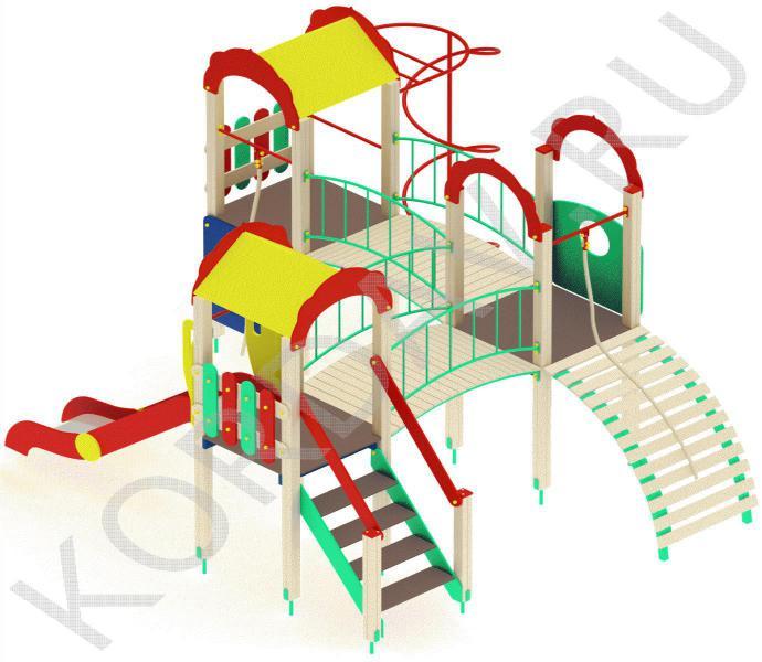 Детский игровой комплекс с  горкой и гимнастическими элементами ПДИ 2.21 (2)