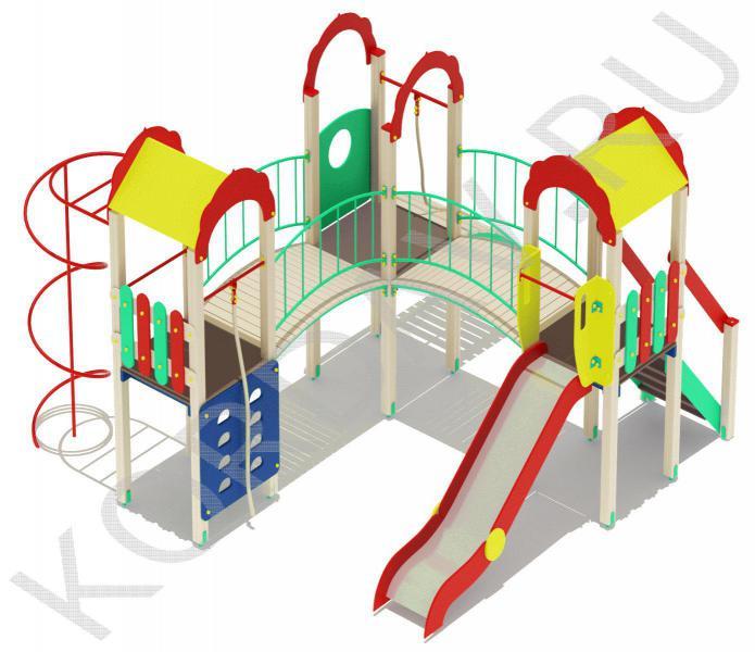 Детский игровой комплекс с  горкой и гимнастическими элементами ПДИ 2.21 (3)