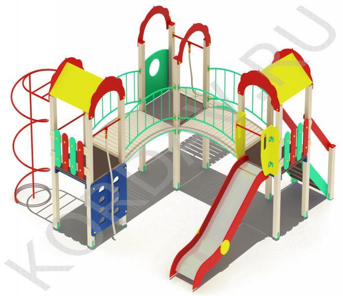 Детский игровой комплекс с  горкой и гимнастическими элементами ПДИ 2.21 (4)