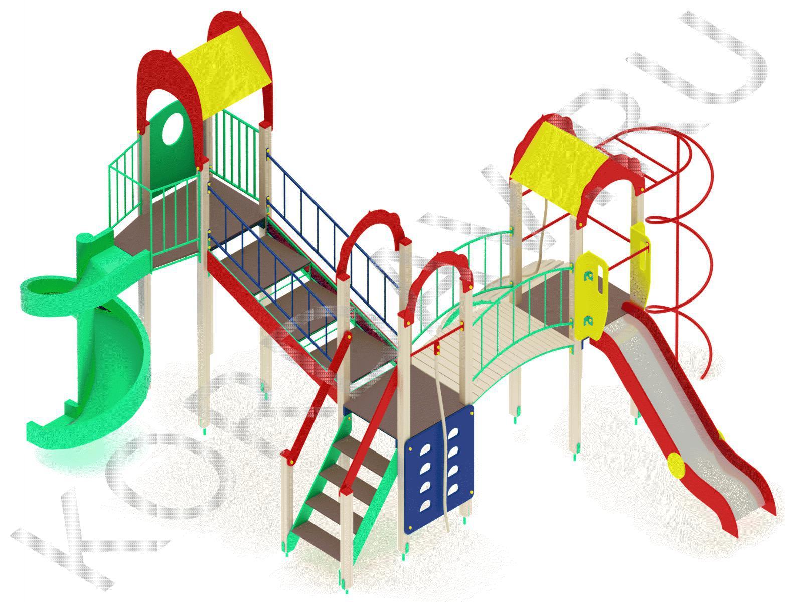 Детский игровой комплекс с винтовой горкой и гимнастическими элементами ПДИ 2.22