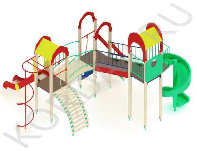 Детский игровой комплекс с винтовой горкой и гимнастическими элементами ПДИ 2.22 (0)