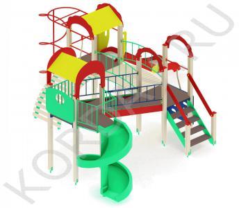 Детский игровой комплекс с винтовой горкой и гимнастическими элементами ПДИ 2.22 (1)