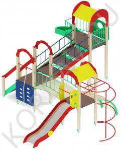 Детский игровой комплекс с винтовой горкой и гимнастическими элементами ПДИ 2.22 (2)