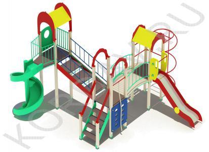 Детский игровой комплекс с винтовой горкой и гимнастическими элементами ПДИ 2.22 (4)