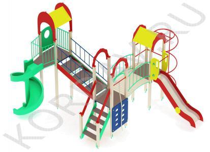Детский игровой комплекс с винтовой горкой и гимнастическими элементами ПДИ 2.22 (5)