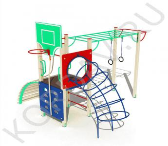 Спортивный комплекс с баскетбольным кольцом кольцами турником рукоходом СК 6.551 (0)