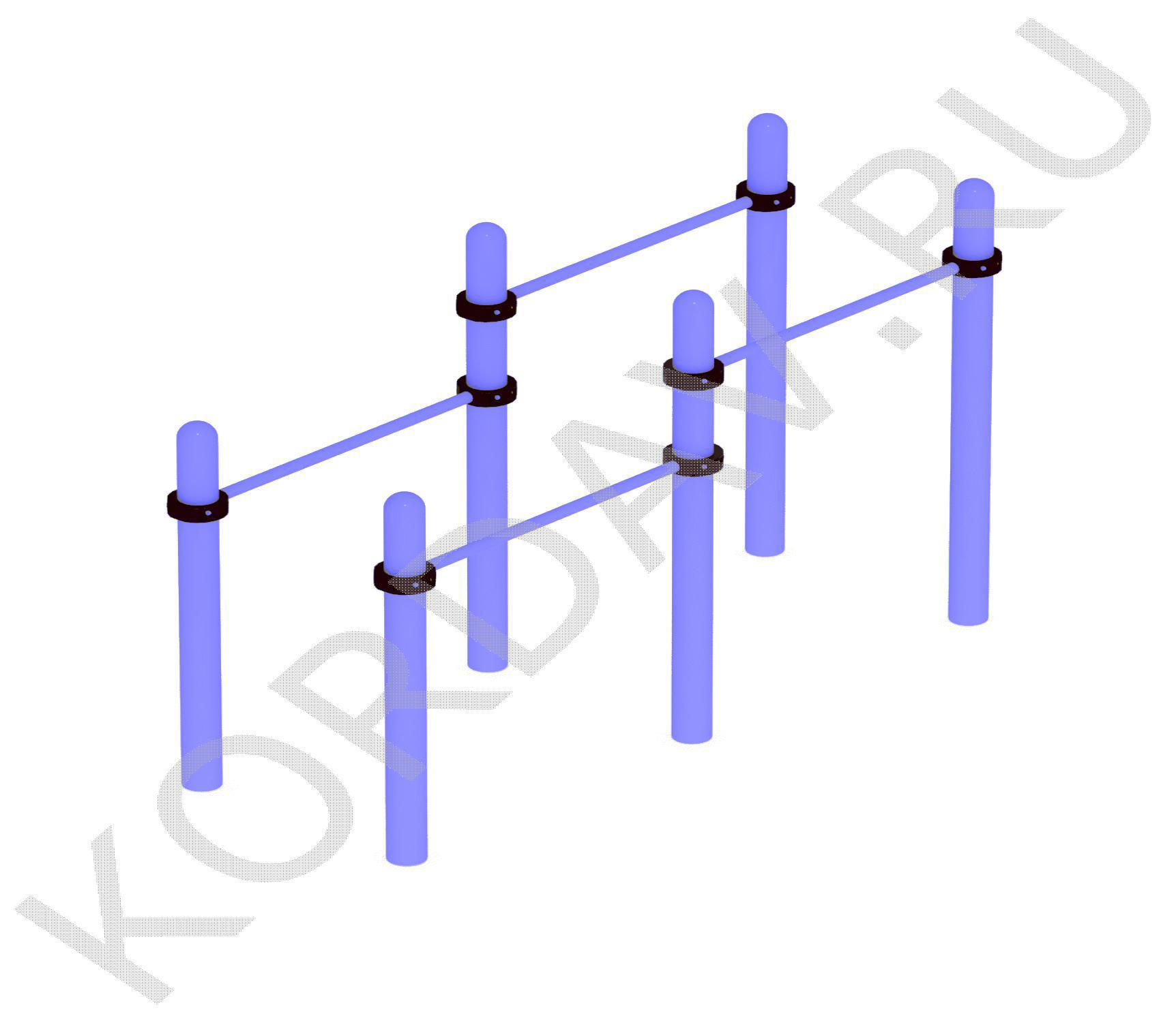 Воркаут Спортивный комплекс из разноуровневых брусьев (108 труба) СТ 1.221