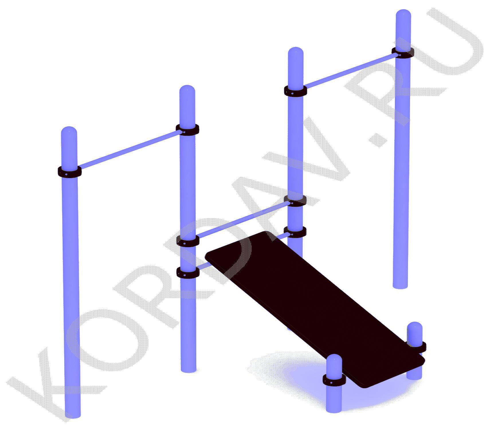 Наклонная скамья с двумя турниками (89 труба) СТ 1.271