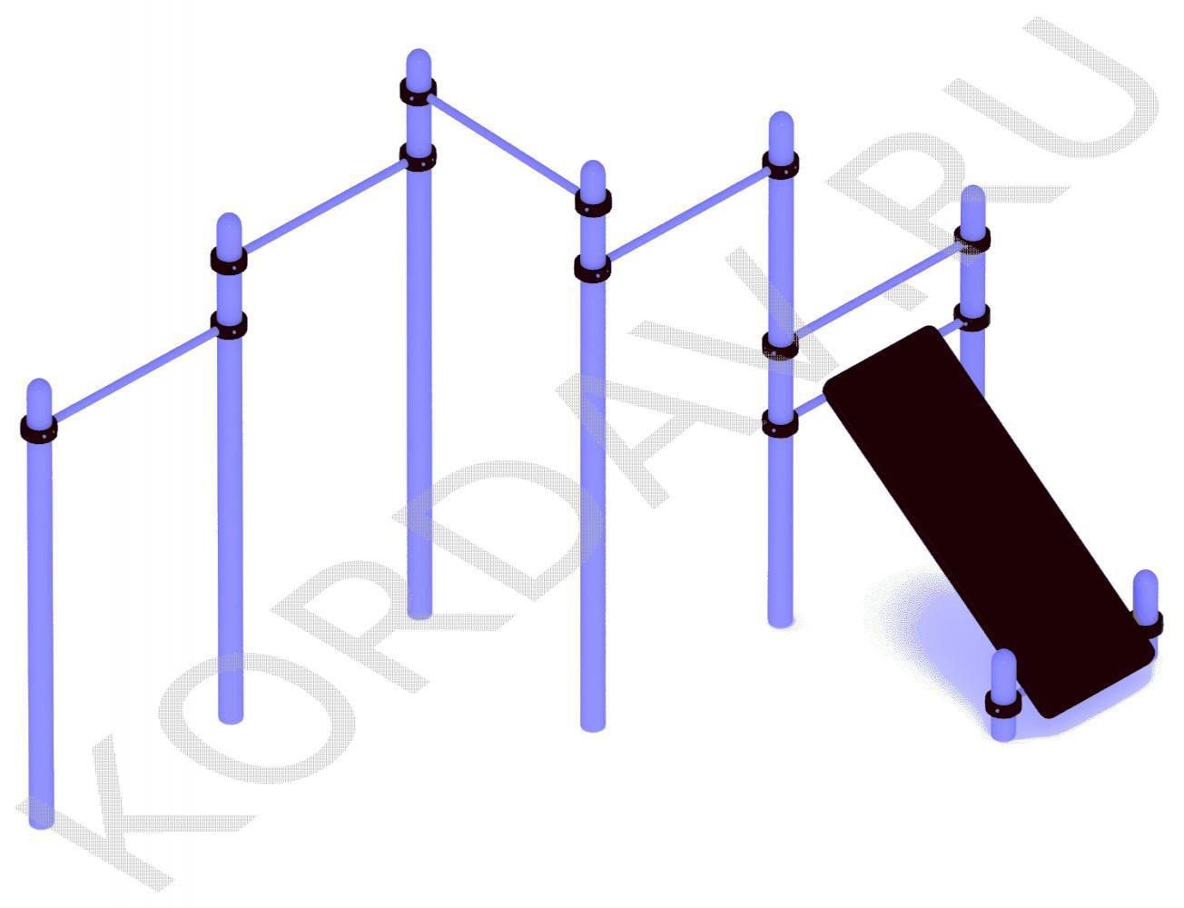 Каскад турников с наклонной доской (89 труба) СТ 1.291