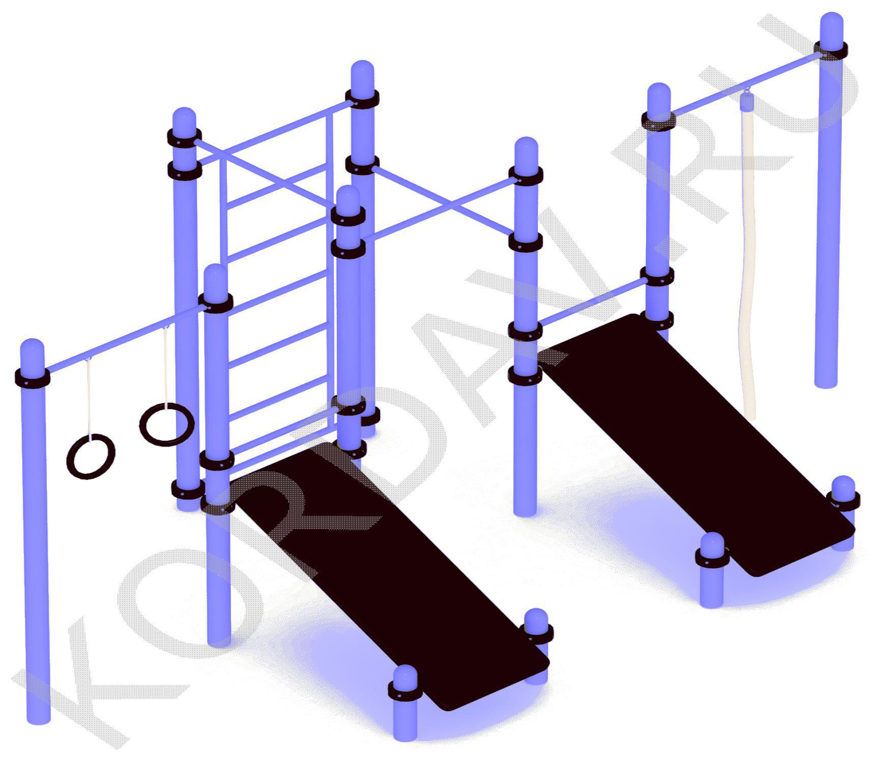 Две наклонные доски, шведская стенка, кольца, турники (89 труба) СТ 1.351