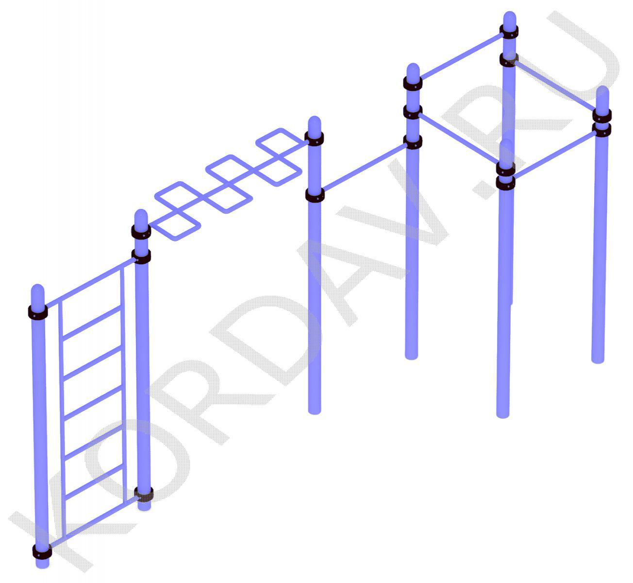 Воркаут шведская стенка, рукоход, каскад турников (108 труба) СТ 1.441