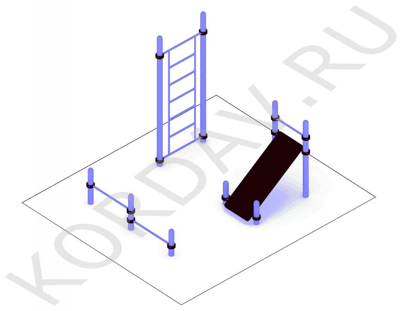 Шведская стенка упор для отжимания наклонная доска (89 труба) СТ 1.491