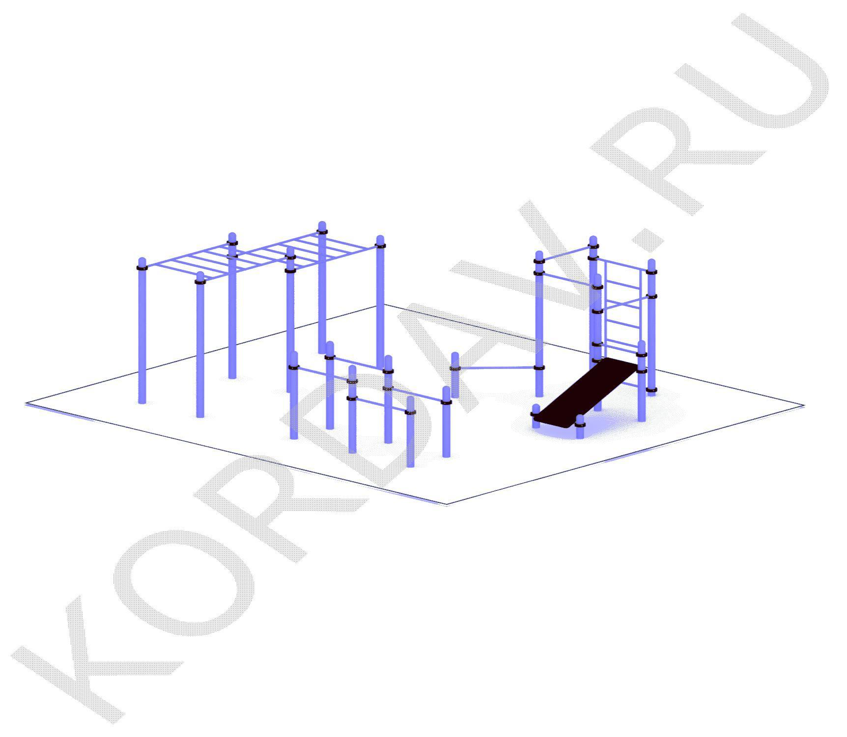 Рукоход, скамья, турники, шведская стенка, брусья (89 труба) СТ 1.571
