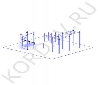 Рукоход, скамья, турники, шведская стенка, брусья (89 труба) СТ 1.571 (1)