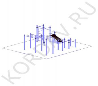 Рукоход, скамья, турники, шведская стенка, брусья (89 труба) СТ 1.571 (2)