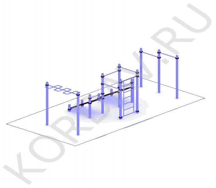 Две лавки, турники, рукоход, шведская стенка (89 труба) СТ 1.591 (1)