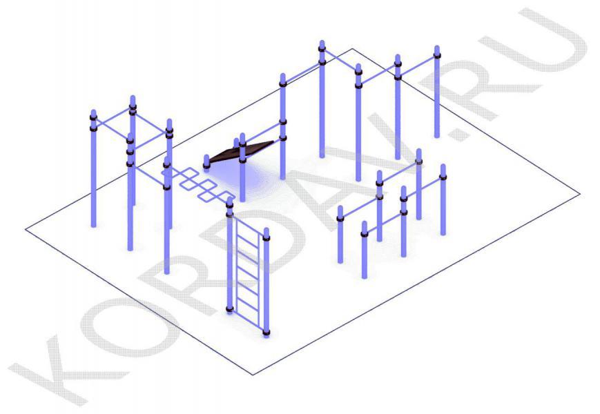 Скамья, рукоход, шведская стенка, многоуровневые турники (89 труба) СТ 1.671 (1)