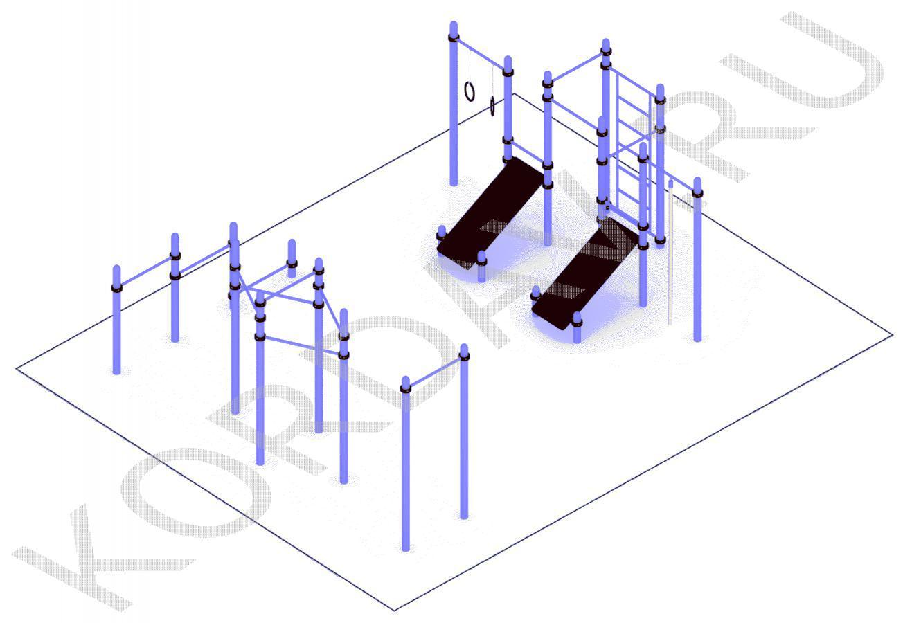 Турник молоток, упоры для отжиманий, две скамьи для пресса, кольца, шведская стенка(89 труба) СТ 1.711