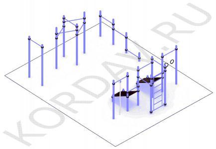 Турник молоток, упоры для отжиманий, две скамьи для пресса, кольца, шведская стенка(89 труба) СТ 1.711 (0)