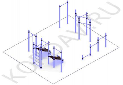 Турник молоток, упоры для отжиманий, две скамьи для пресса, кольца, шведская стенка(89 труба) СТ 1.711 (1)