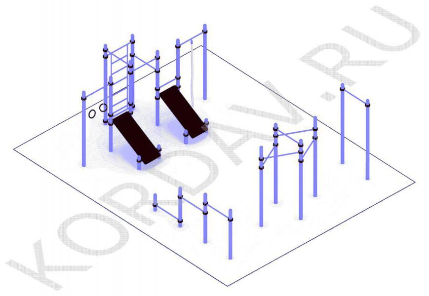 Турник молоток, упоры для отжиманий, две скамьи для пресса, кольца, шведская стенка(89 труба) СТ 1.711 (2)