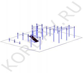 Рукоход, лавка наклонная, брусья, кольца (89 труба) СТ 1.751 (3)