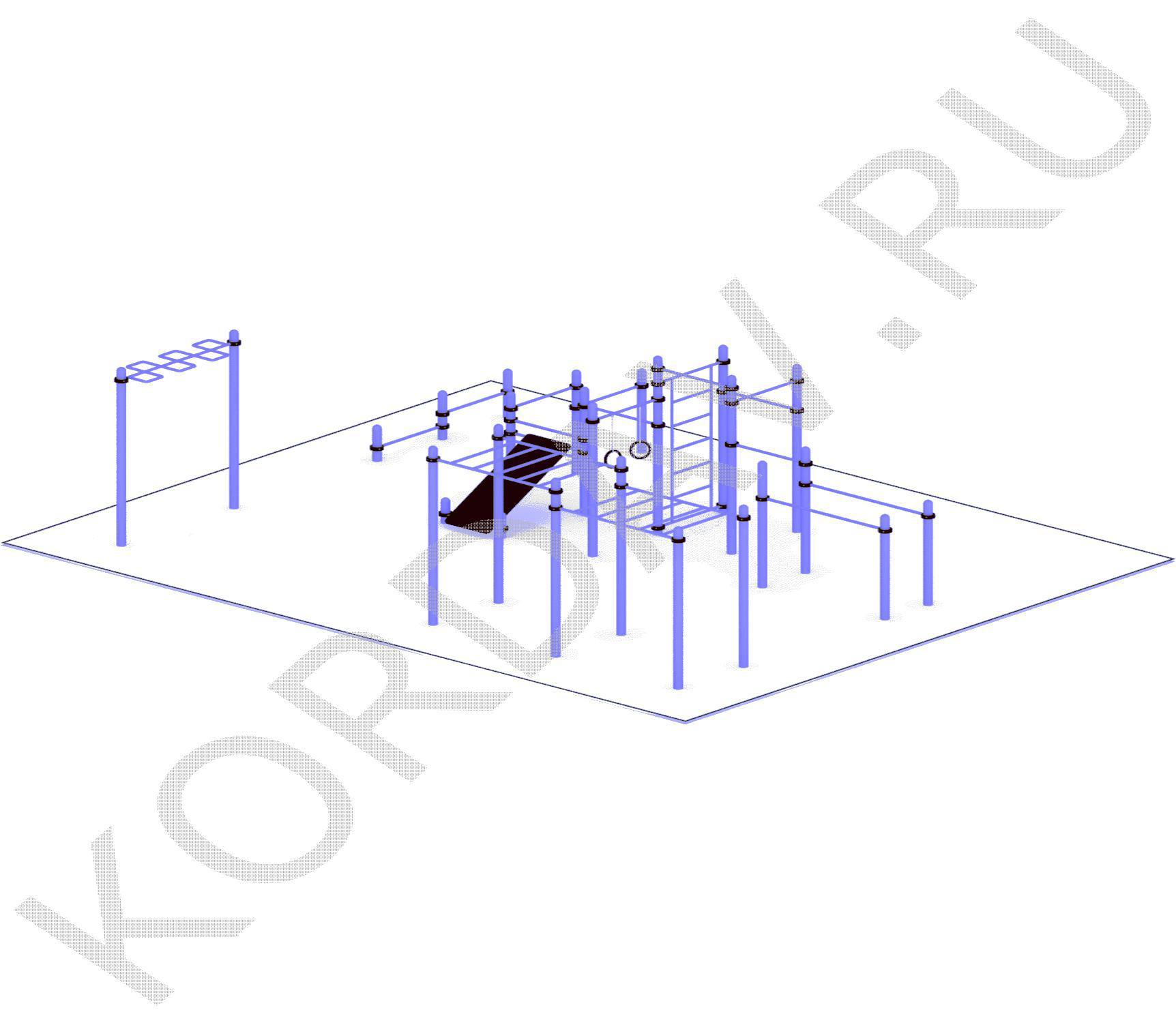 Рукоход, лавка наклонная, брусья, кольца (89 труба) СТ 1.751