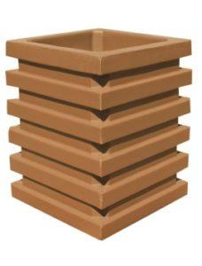 Урна бетонная квадратная с горизонтальным узором одноцветная Корда 024a
