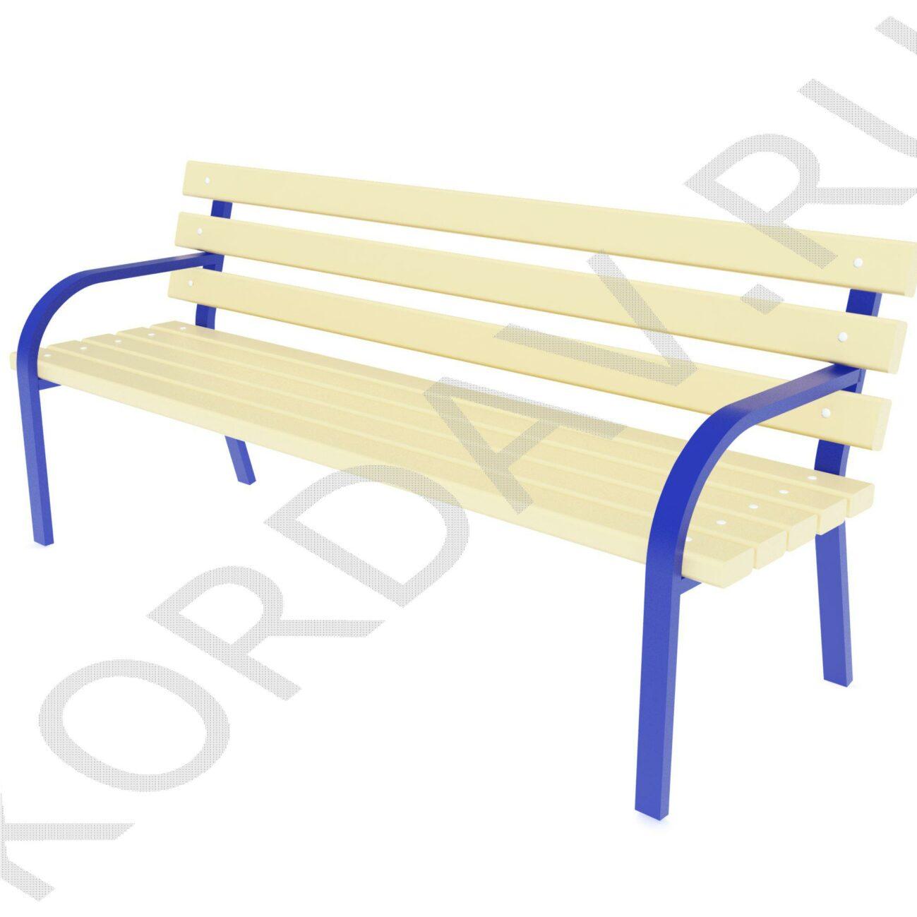 Скамья парковая с деревянной  спинкой МАФ 10.241