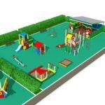 Спаренная детская площадка с двумя беседками вид 2