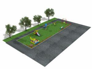 Детская площадка из 6 элементов с забором