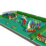 Спаренная детская площадка с двумя беседками вид 1