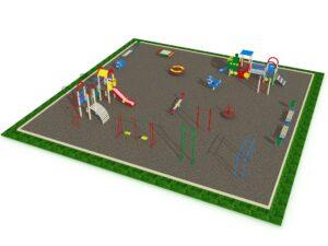 Детская площадка с элементами спортивного оборудования квадратная