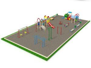 Детская площадка с элементами спортивного оборудования