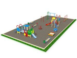 Детская площадка с элементами спортивного оборудования вид 2
