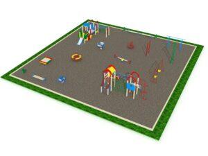Детская площадка с элементами спортивного оборудования квадратная вид 2
