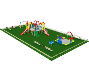 Детская площадка с ограждениями и лавочками